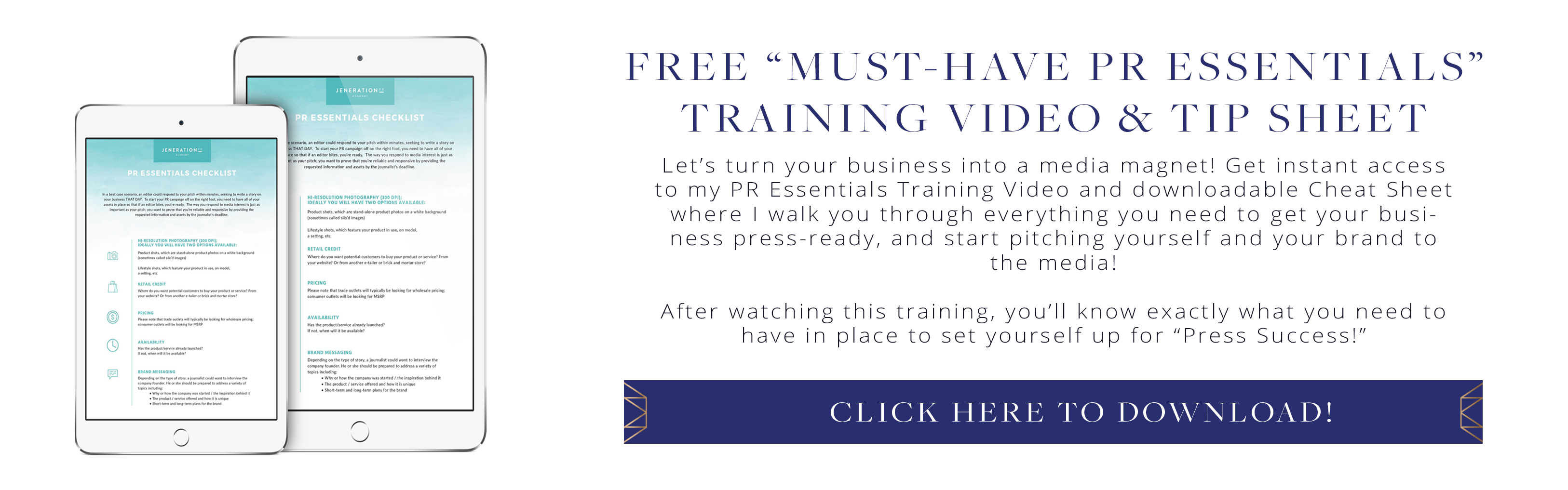 Free Must-Have PR Essentials Training Video & Tips Sheet